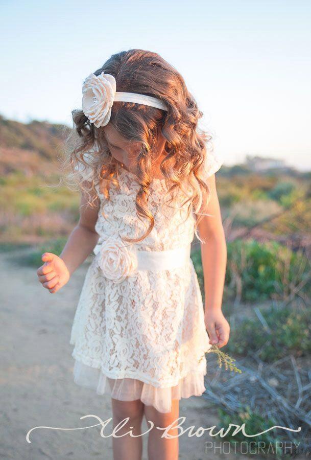 feaefa60d08 Champagne Flower Girl Dress, Lace Baby Dress, Rustic Flower Girl ...