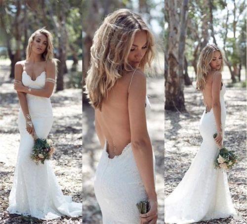 Свадьба - Bohemian Mermaid Lace Wedding Dress Spaguetti Straps Open Back Wedding Dress Bohemian Wedding Dress