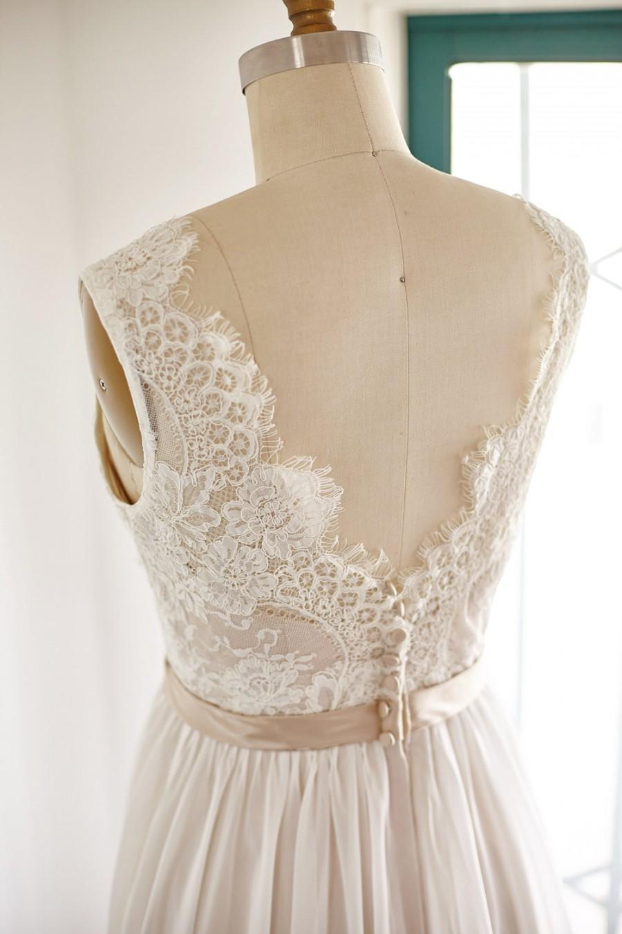 Lace chiffon wedding dress backless open back v back for T back wedding dress