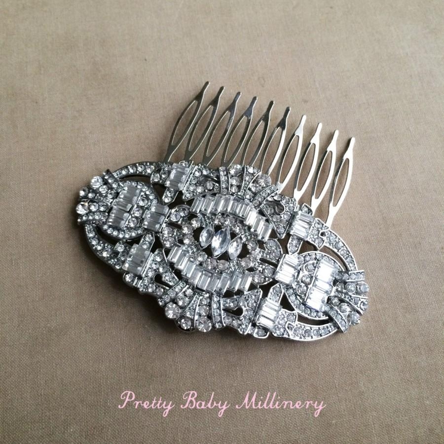Mariage - Art Deco Comb, Great Gatsby headpiece, LARGE,  Art Deco bridal headpiece,Bridal wedding hair comb hair accessories Downton Abbey silver