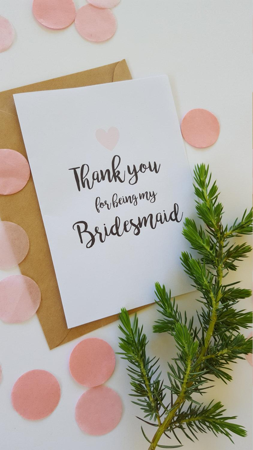 Wedding - Thank you for being my Bridesmaid Card/ Maid of Honour/ Flower Girl /AUSTRALIAN SELLER - C19