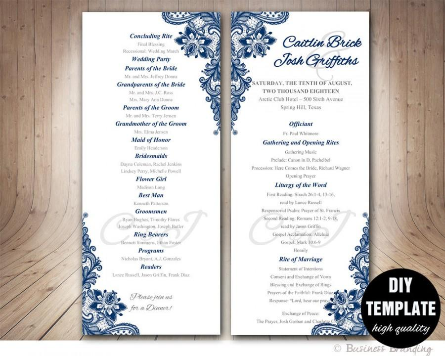Navy blue wedding program template instant download for Free wedding program templates word