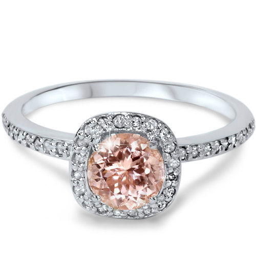 زفاف - Morganite Diamond Ring, Halo Morganite Diamond Engagement Ring 1Ct Morganite & Diamond Cushion Halo Engagement Ring 14K White Gold Size 4-9