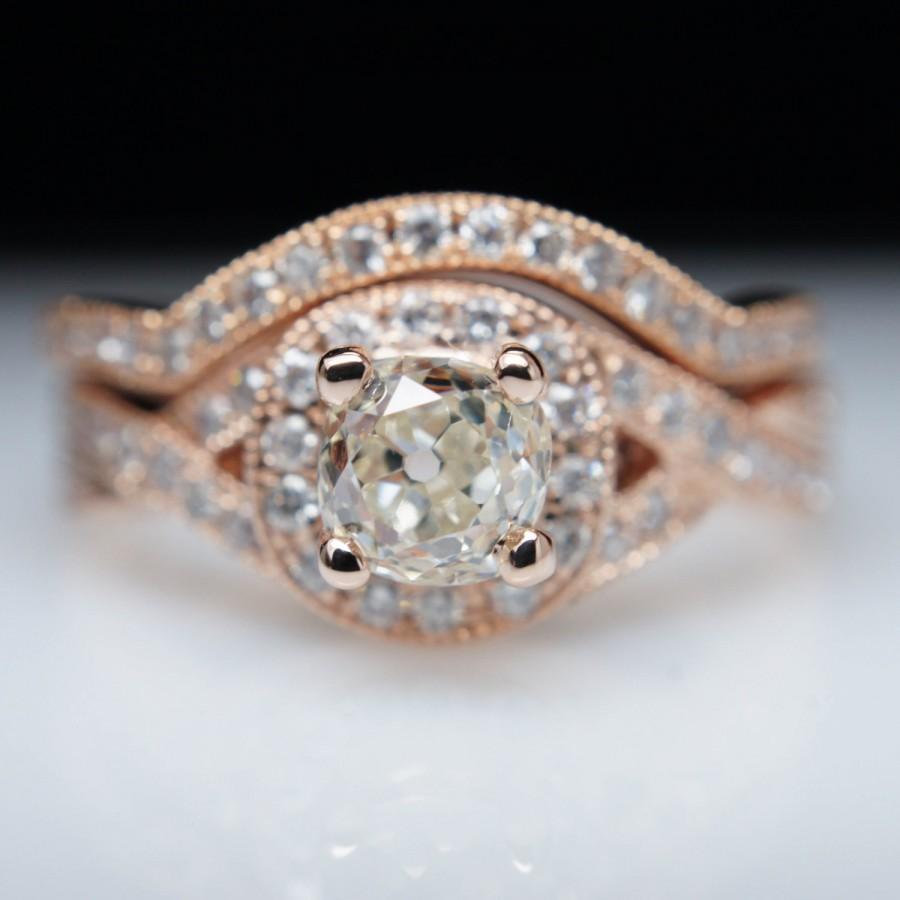 109ctw Old Mine Cut Diamond Halo Engagement Ring & Wedding Band Set In 14k  Rose Gold  Grade Mounted Twist  Custom Sizing