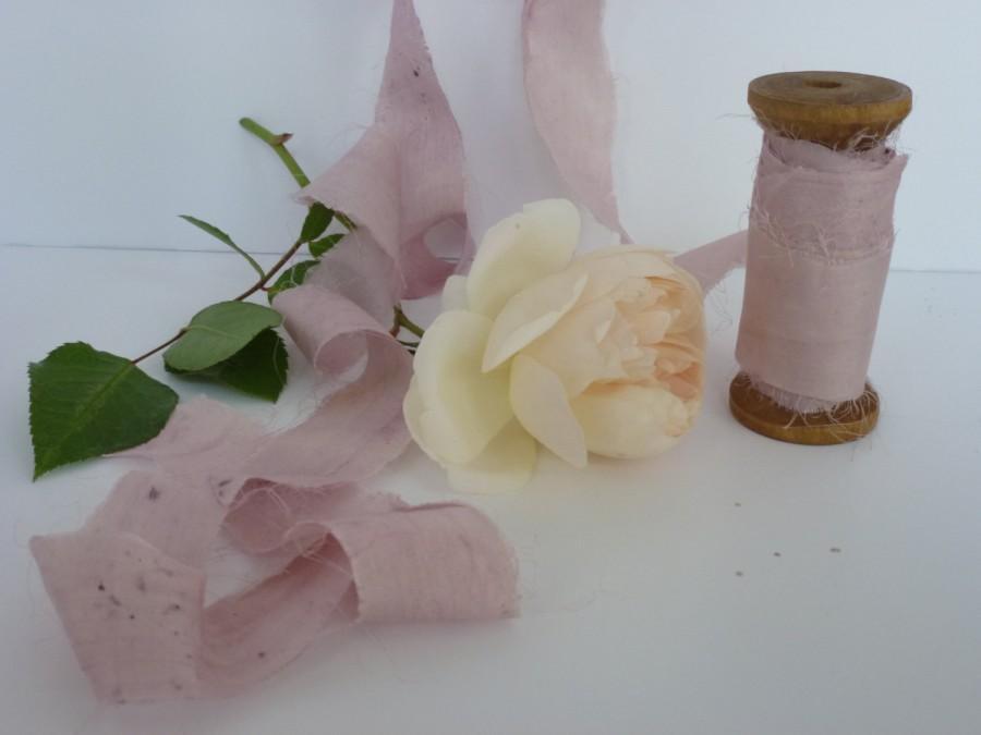 Mariage - 5m Pink Silk Ribbon, Sari Silk, Naturally Dyed