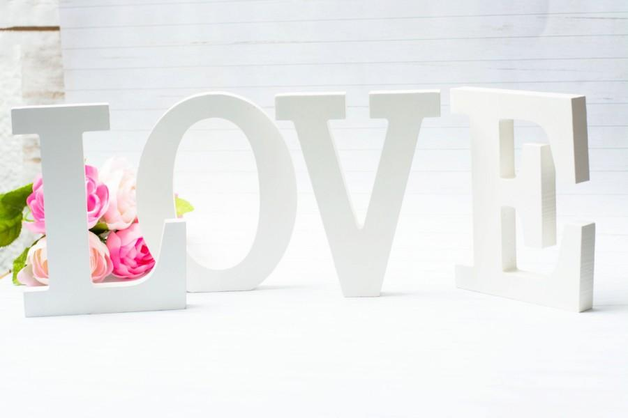 Wedding Love Sign Wooden Table Decor Candy Bar Sweetheart Decoration White