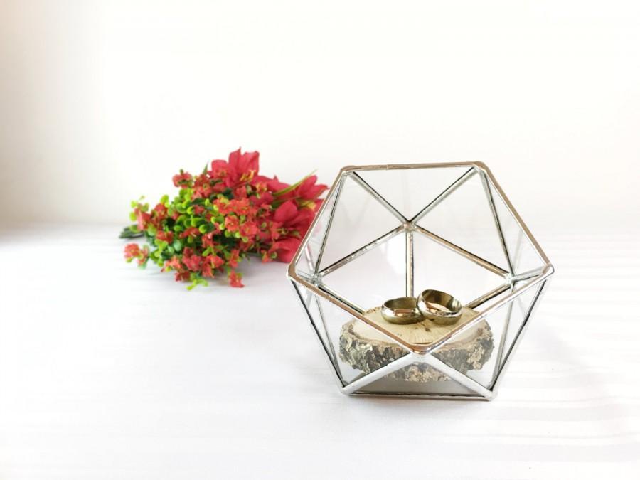 Mariage - Wedding Ring Holder, Ring Bearer Box, Glass Ring Pillow, Ring Holder, Jewelry Box, Wedding Ring Box, Proposal Ring Box, Mini Planter, Box