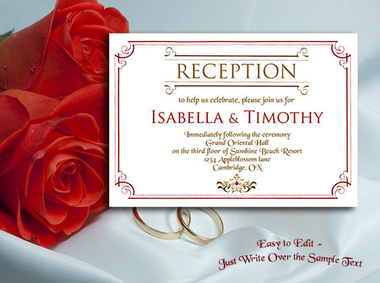 Wedding - Wedding Reception Invitation Template - Editable in MS Word 2003 or higher - Gold and Red - Printable
