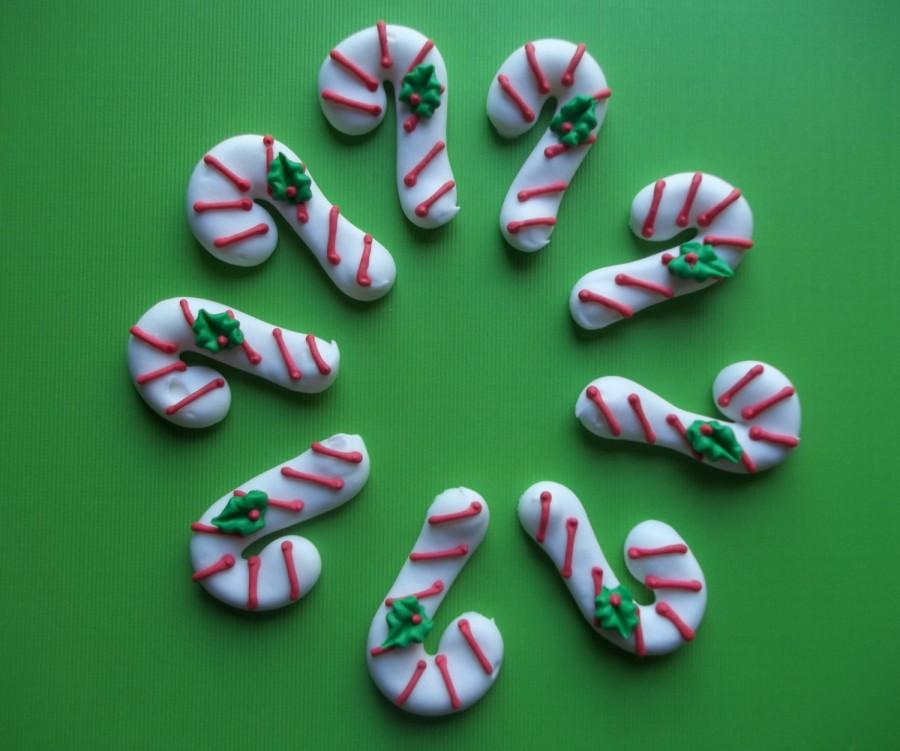 Wedding - Royal icing candy canes  --  Handmade Christmas x-mas cake decorations cupcake toppers (12 pieces)