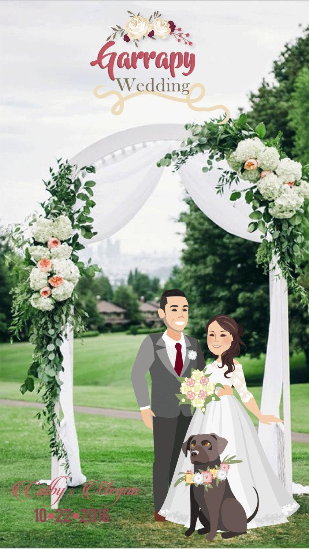 Wedding - Custom Wedding Snapchat Geofilter with Personalized Cartoon Portrait