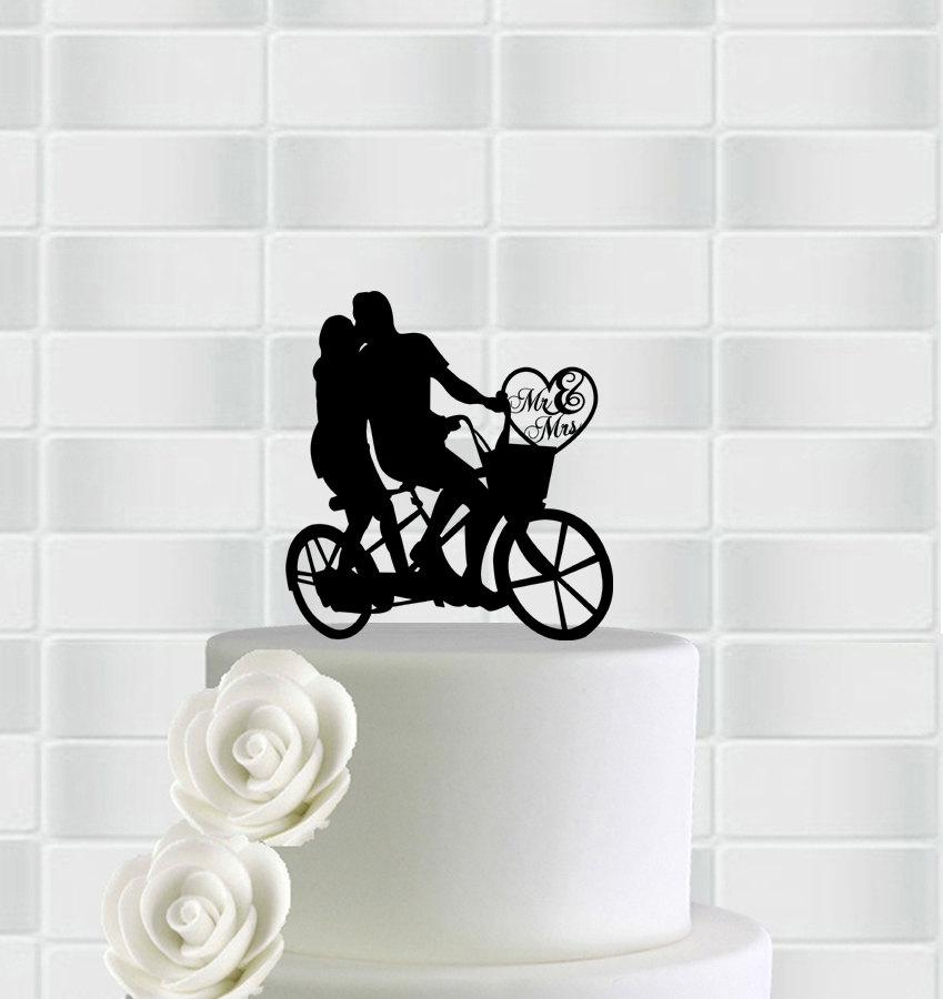 Wedding - Wedding Cake Topper,Bicycle Cake Topper,Mr & Mrs Cake Topper,Bride And Groom On Bike Cake Topper,Wedding Topper,Silhouette Wedding Topper