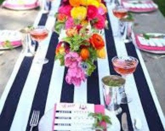 White And Navy Stripe Table Runner Wedding Table Runner With