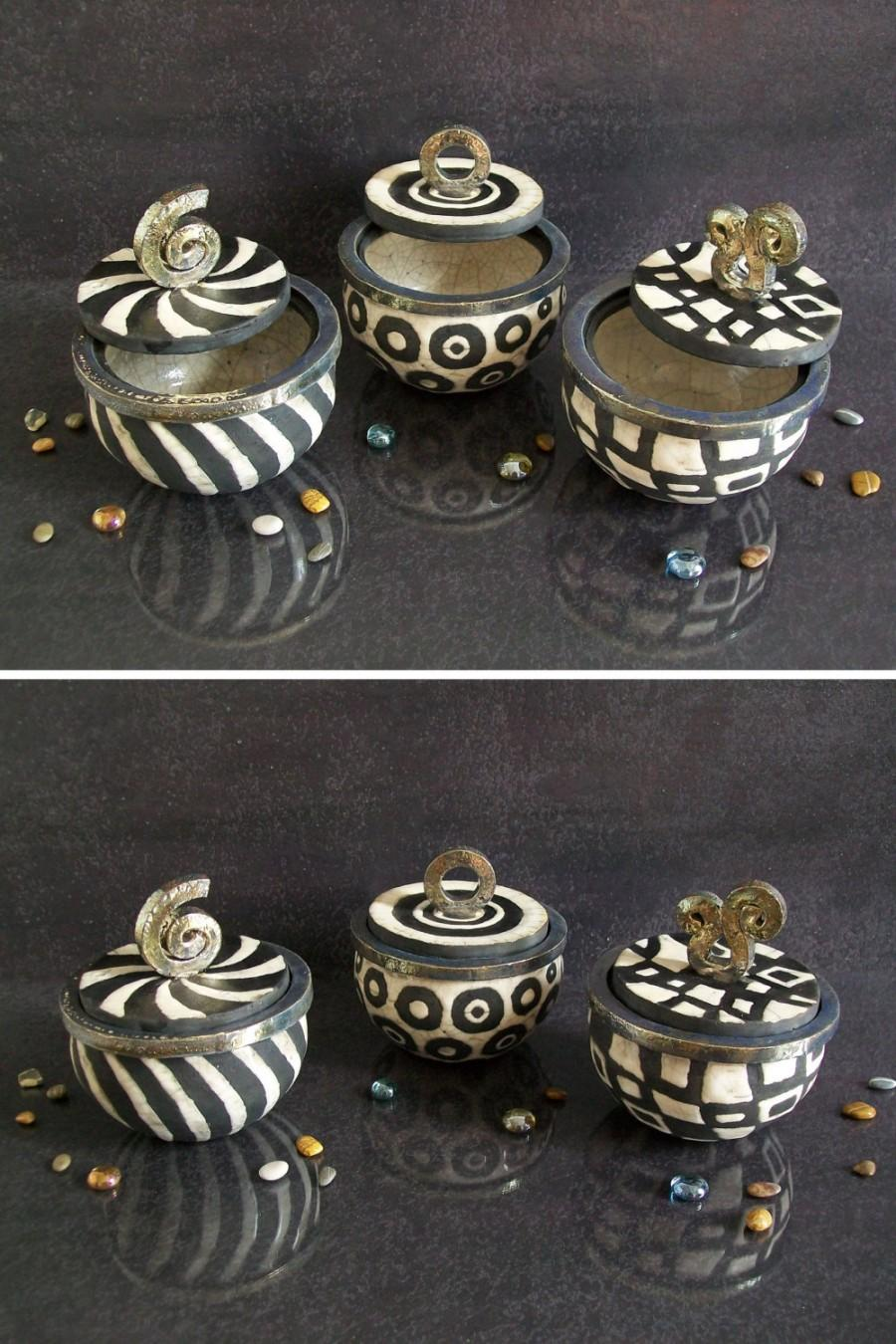 Wedding - black and white jars ceramic raku casket, wedding box for gift or rings, black white jewelry box, candy containers coffer