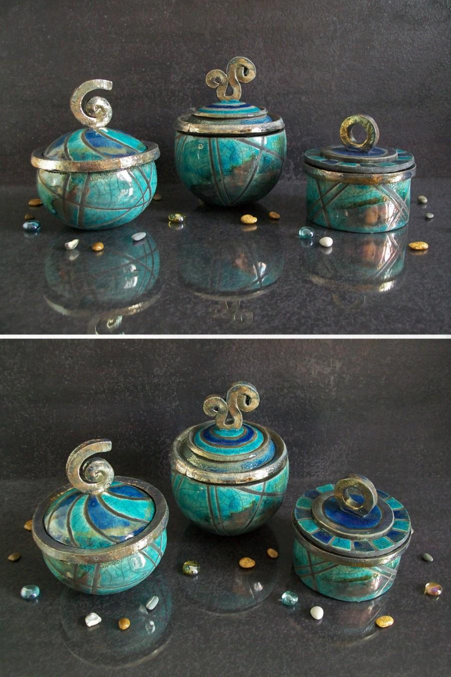 Wedding - turquoise jars ceramic raku boxes, wedding ring box, ceramic jewelry box, ceramic container, pottery coffer oriental shape