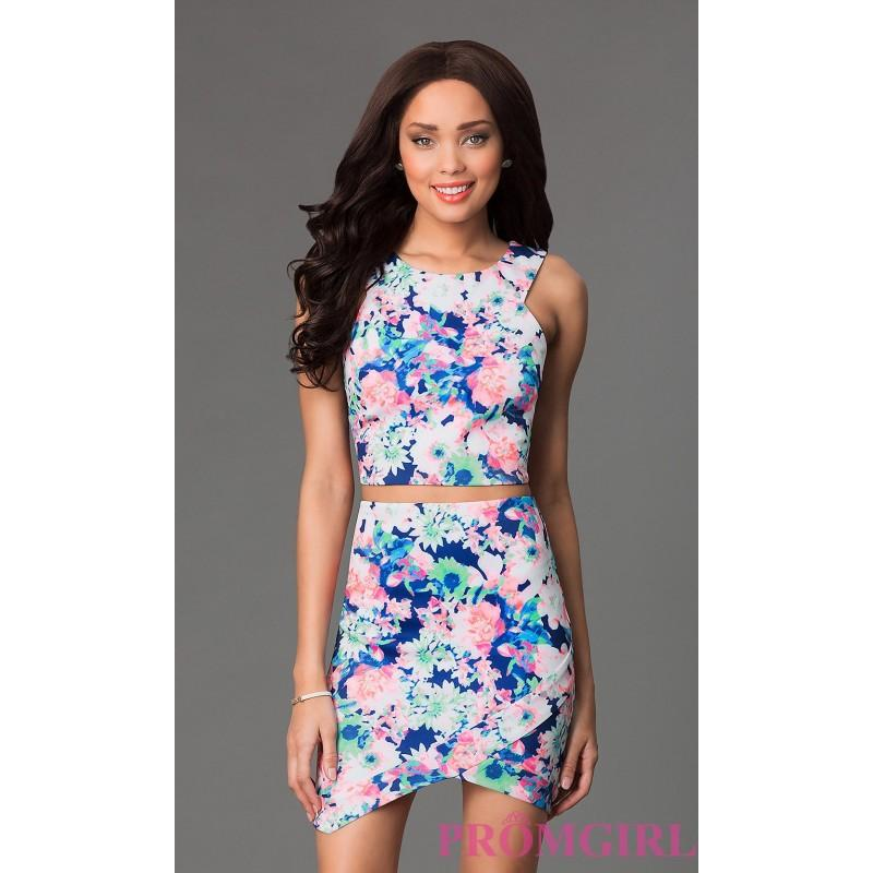 Short Two Piece Floral Print Dress By As U Wish - Brand Prom Dresses ...