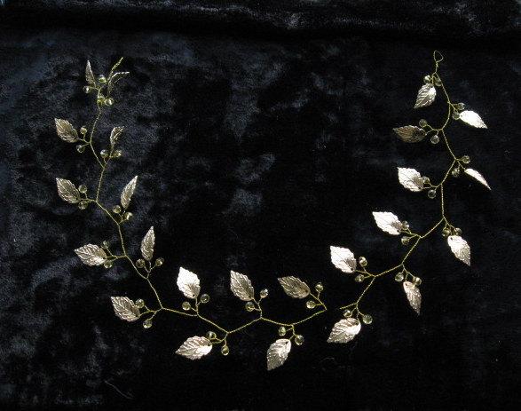 Mariage - Wedding headband Bridal greek crown Leaf headpieces Goddess headwear Grecian wedding Gold laurel crown Greek tiara Glass beaded tiara Halo