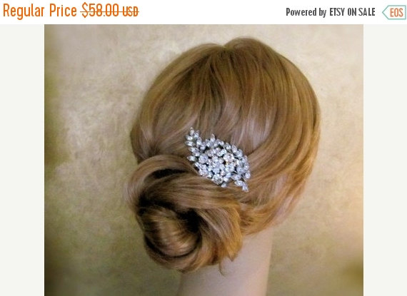 Mariage - SALE - Vintage Inspired Bridal Hair Comb, Wedding Hair Accessories, Rhinestone Hair Combs, leaf hair comb -Made to order