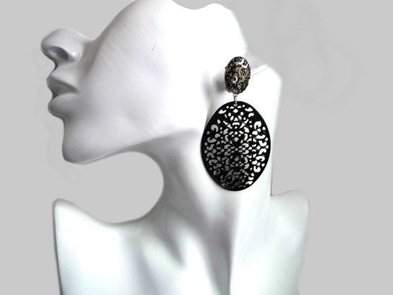 Black Earrings Oval Clip Dangle Statement Clips