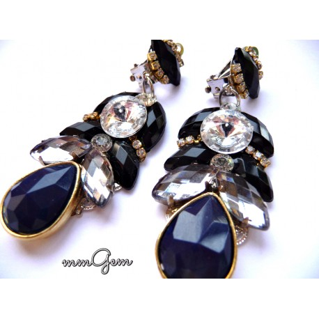 Hochzeit - Black Blue Earrings