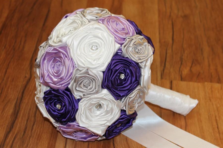 Mariage - Purple Fabric Bouquet, Purple, Lavender, Silver, & White Bouquet, Lavender Bouquet, Purple Wedding Bouquet, Purple and White Wedding