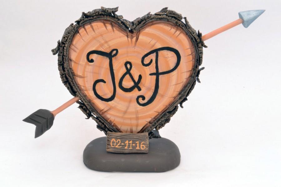 Mariage - Rustic Wedding Cake Topper - Personalized  Cake Topper - Keepsake Wedding Cake Topper