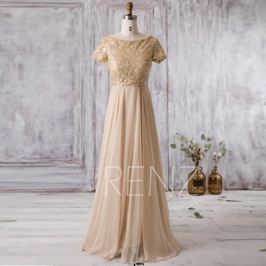 Hochzeit - 2016 Golden Bridesmaid Dress Long, Lace Sequin Illusion Wedding Dress, Short Sleeves Maxi Dress, Prom Dress Mother Of Bride MOB gown (G179)