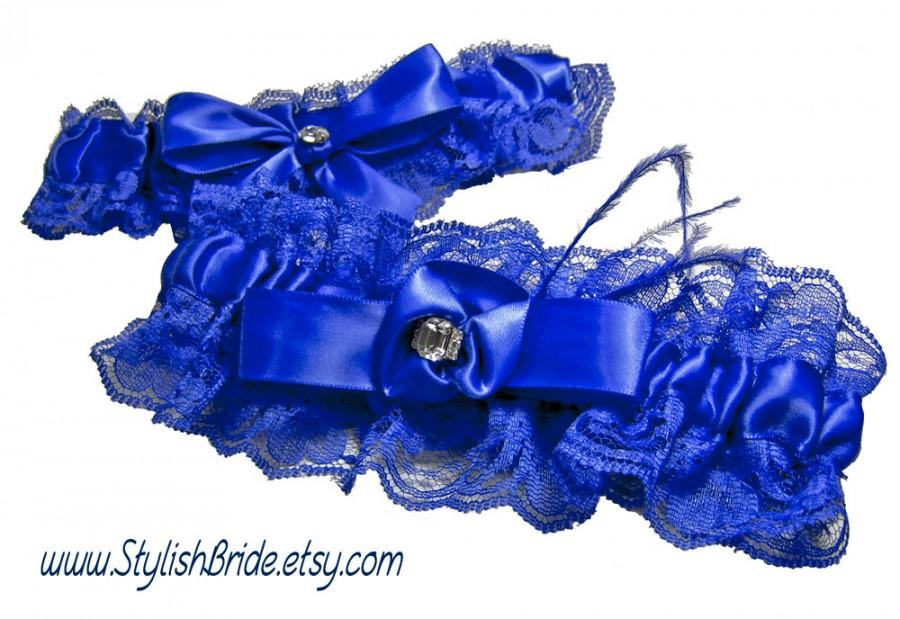 Hochzeit - Royal Cobalt Blue Lace and Satin Wedding Garter Keepsake and Toss Set Something Blue