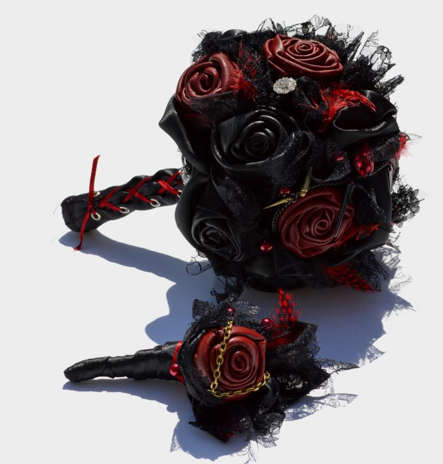 Black And Red Leather Gothic Wedding Bouquet #2601755 - Weddbook