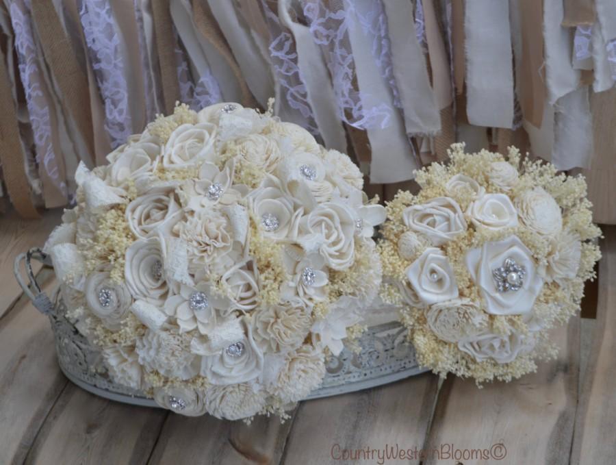 Mariage - READY TO SHIP Bouquet, Winter Bouquet, Bridal Bouquet, Rustic Bouquet, Wedding Bouquet, Sola Flower Bouquet, Winter Bouquet, Ivory Bouquet