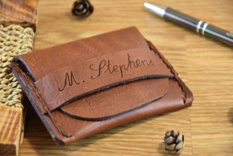 Wedding - Personalized Leather Wallet, Mens Handmade Wallet, Flap Wallet, Minimalist Credit Card Wallet