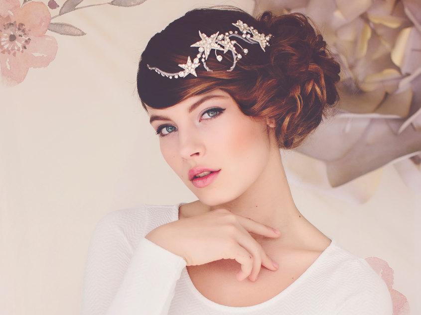 Свадьба - Wedding Star Hair Jewelry Headpiece, Spring Weddings, Wedding Headpiece, Star Headpiece, the Cassiopeia Silver Star Hair Vine #133
