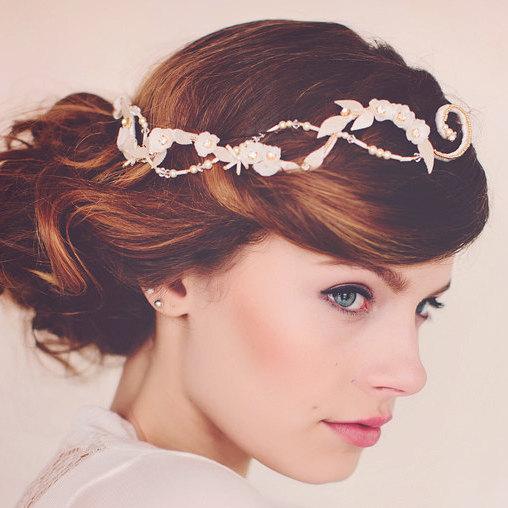 Свадьба - Wedding Bridal Hair adornment, Pearl HairAdornment, Wedding Bridal Headpiece Hairvine, the Eliza Pearl Hair Vine #171