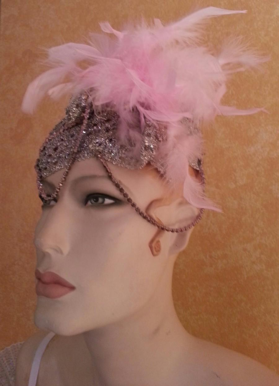 Свадьба - Sparkling Iridescent Metallic Silver & Baby Pink Gatsby 20's Style Bridal Headpiece Wedding Costume Party Club