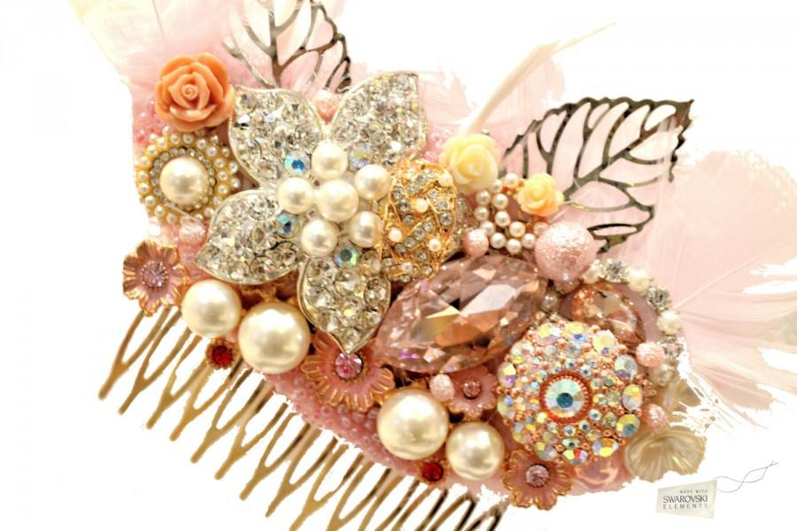 Свадьба - Swarovski crystal Baby Pink Gold Ivory Silver Gatsby Feather 1920s Crystal Classic Vintage Bridal Hair Comb Piece Slide