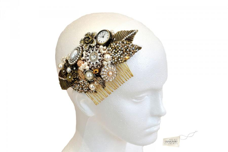 Свадьба - Swarovski crystal 1920s Art Deco Gold Cream Ivory Pearl Classic Vintage Bridal Hair Comb Piece Slide