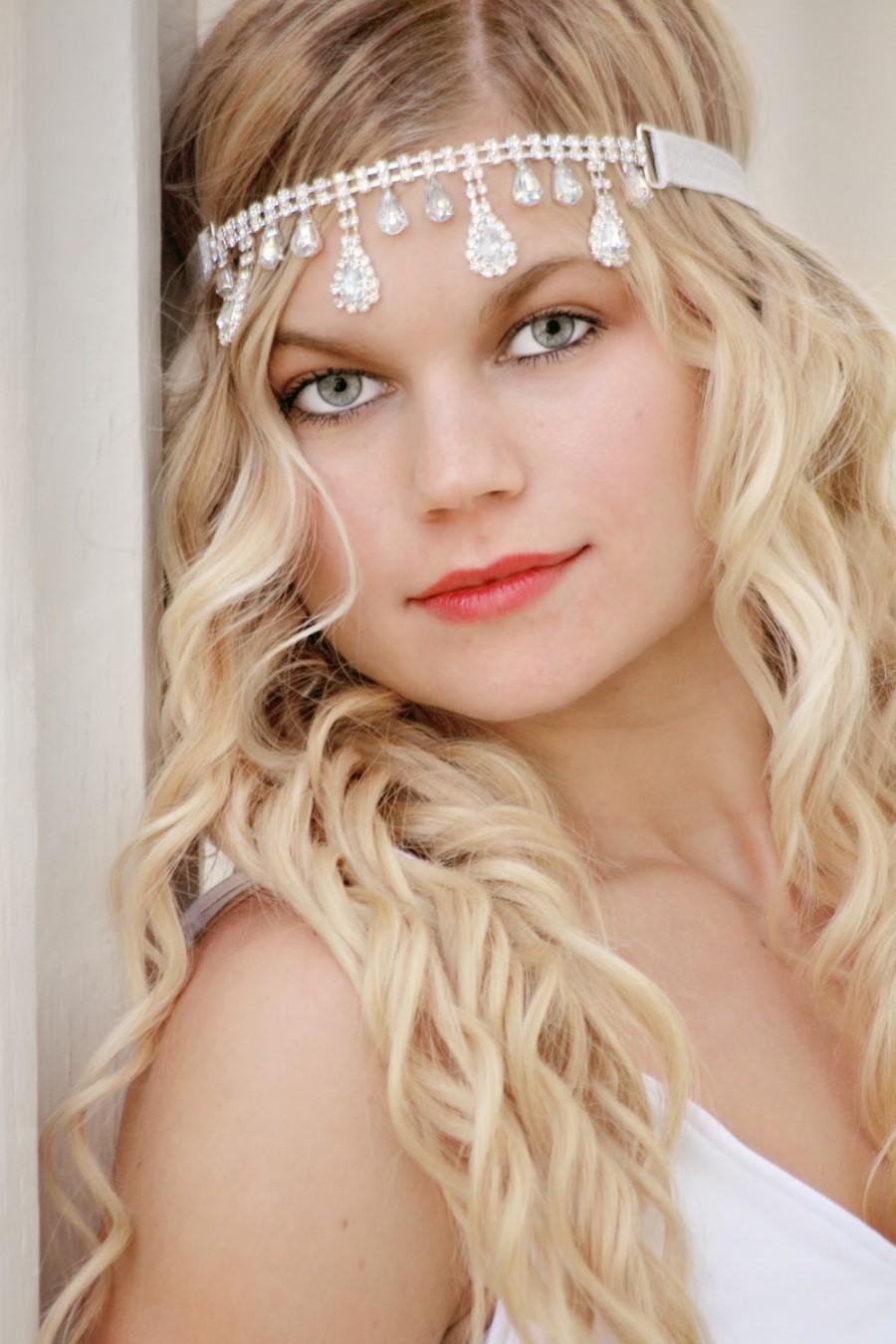 Свадьба - Rhinestone Teardrop Bridal Headband, Wedding Head Piece, Rhinestone Connector, Crystal Headband, Boho Hairpiece, Forehead Headband, Adult