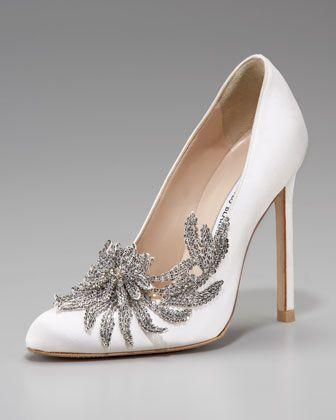زفاف - Swan Embellished Satin Pump, White