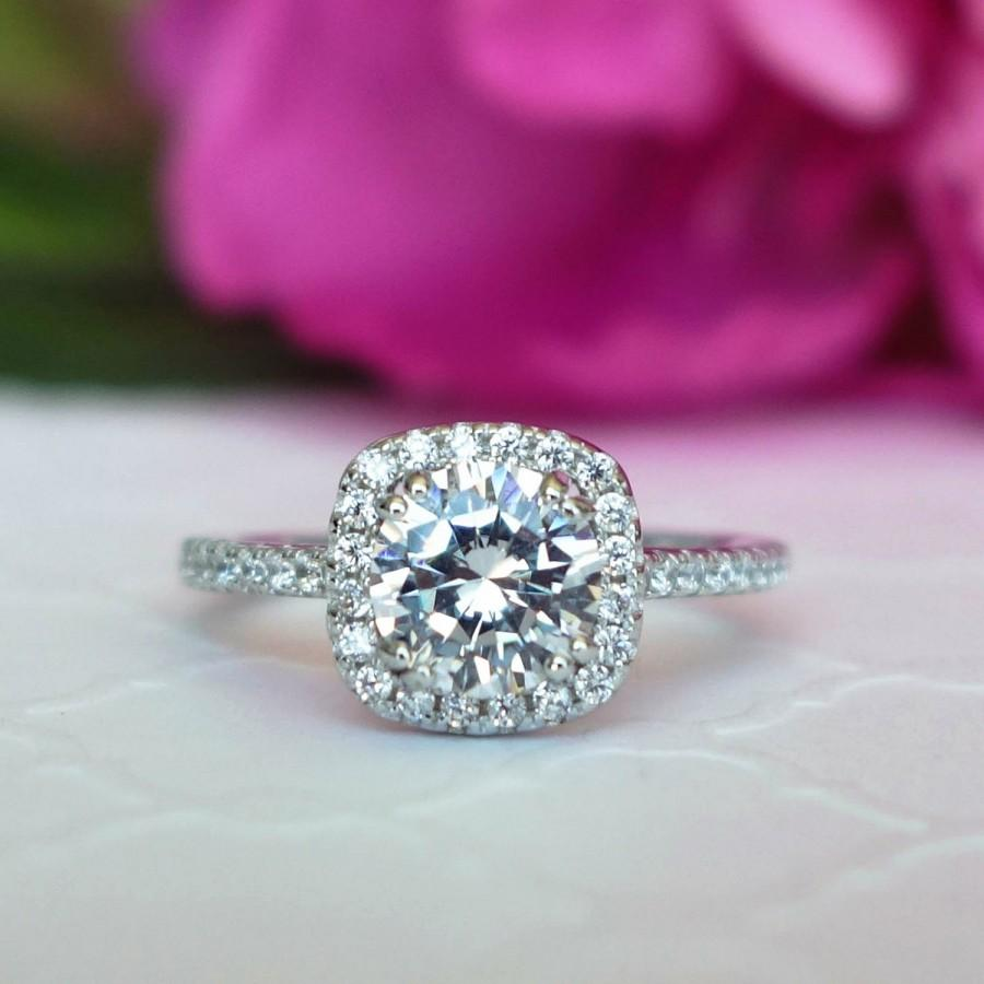 New! 1.25 Ctw Classic Square Halo Engagement Ring, Man Made Diamond ...