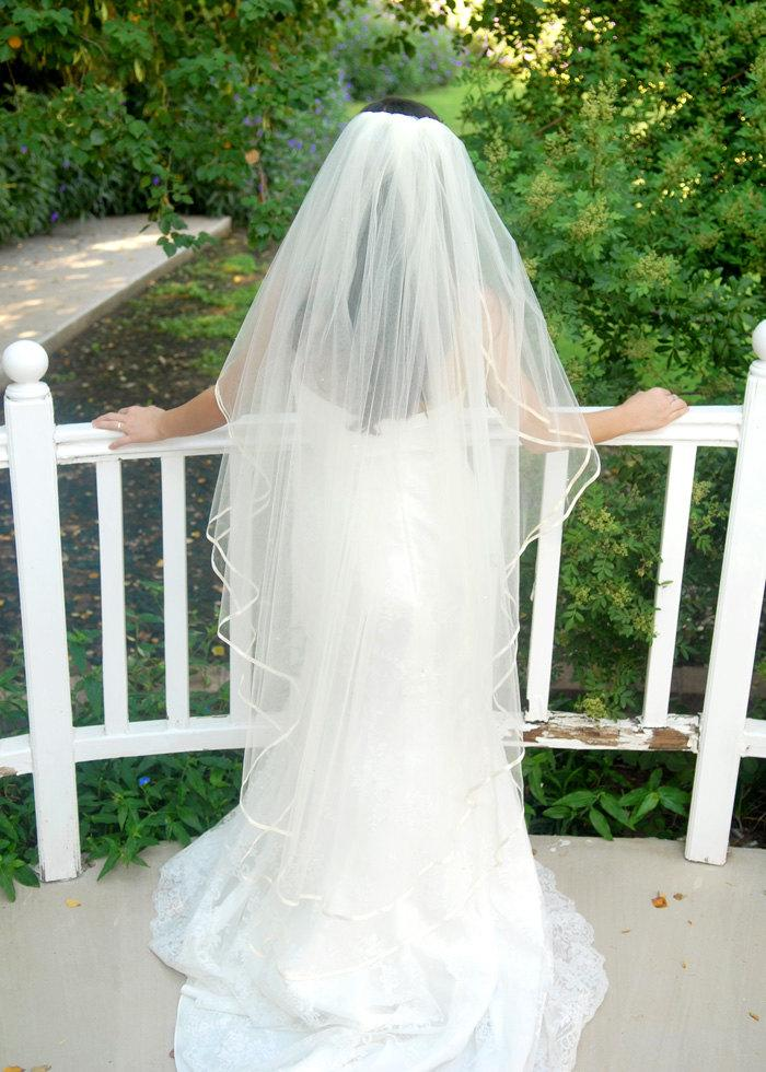 Wedding - Full Double Angel Cut Wedding  Veil, Waltz Length, with Satin Ribbon and Silver Swarovsky Crystals - Buenos Aires