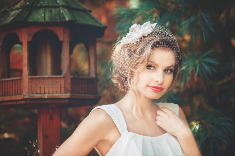 Свадьба - Champagne Colored Birdcage Veil - Vintage Style Champagne Wedding Veil - Granada