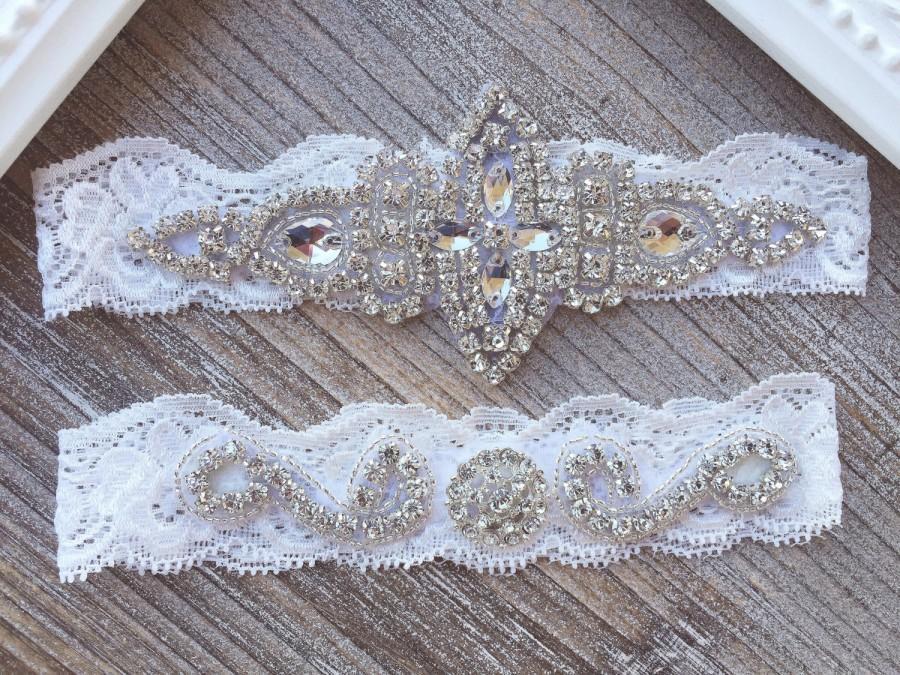 Hochzeit - SALE - Wedding Garter Set, Rhinestones Garter Set on Ivory or White Lace, Garter Set Rhinestones