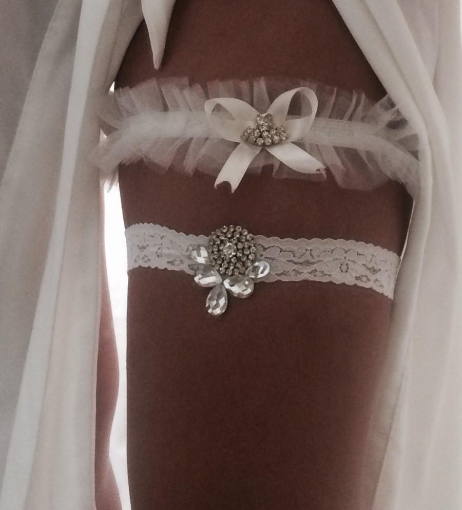 Hochzeit - Rhinestone Encrusted Lace Wedding Garter Belt Set. Custom Fit Bridal Accessory Essentials