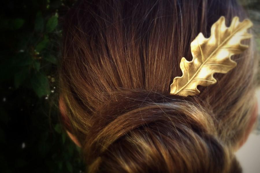 Mariage - Large Oak Leaf Hair Pin Gold Oak Leaf Bobby Pin Brass Hair Pins Leaf Hair Clip