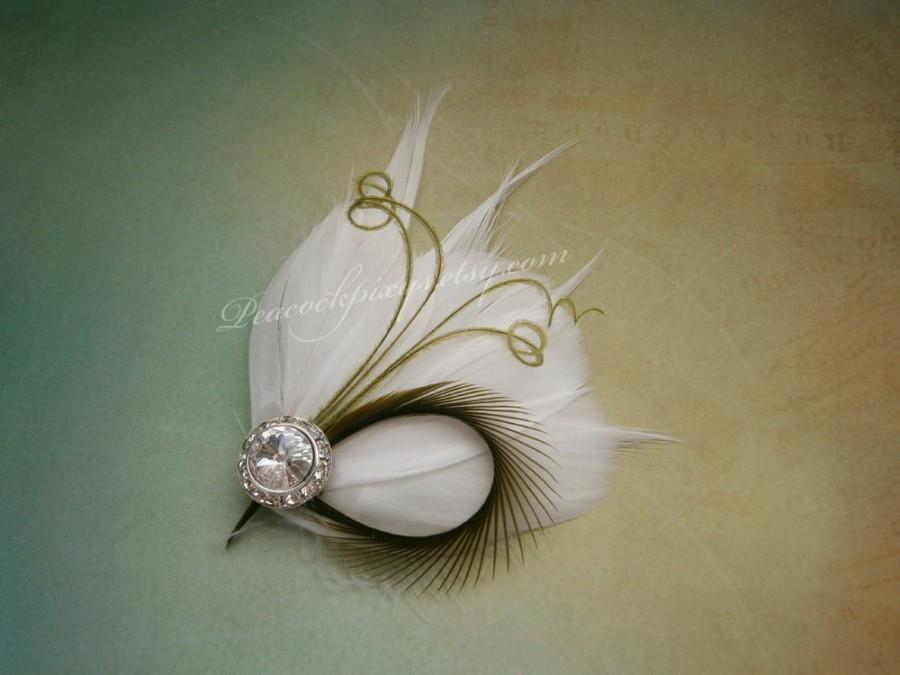 Свадьба - Feather, wedding, accessories, Facinator, white, green, lime, small, Hair, Fascinator, wedding, hair clips, Bridal - LIME LOVE