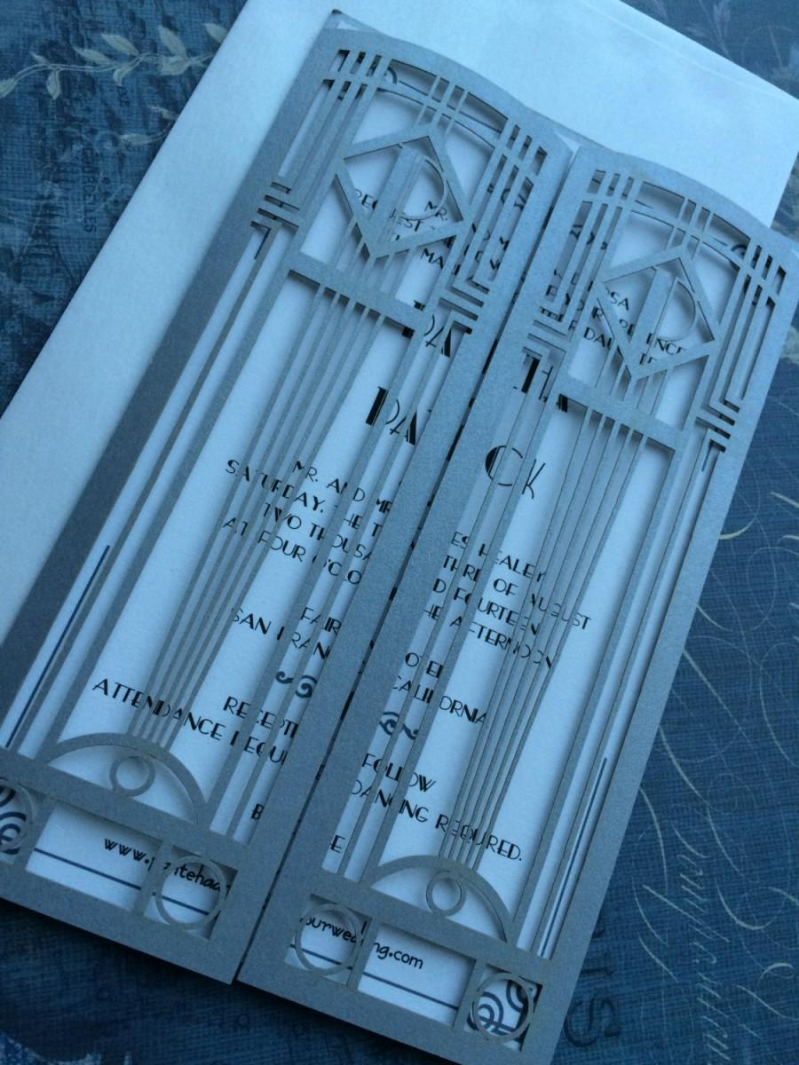 Wedding - Laser Cut Wedding Invitations, Monogram Art Deco Gate Invitations, Roaring 20s Custom Personalized Invitations, Die Cut