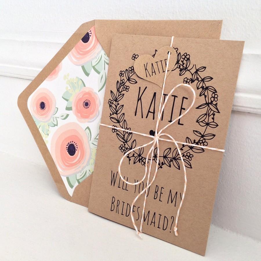 Wedding - Will You Be My Bridesmaid Card, Custom Wedding Stationery, Personalised Bridesmaid Card, Maid of Honor, Rustic Bridesmaid Card, Kraft