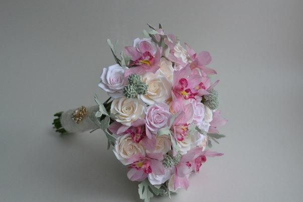 Wedding - Alternative wedding bouquet the bride orchid flowers from a cold porcelain boutonniere