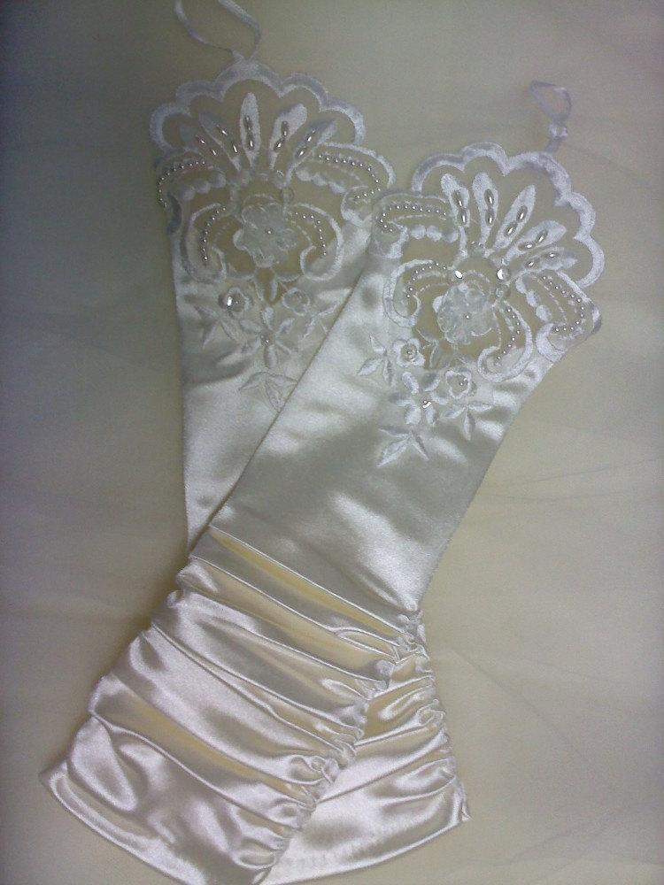 Свадьба - cream ivory fingerless gloves