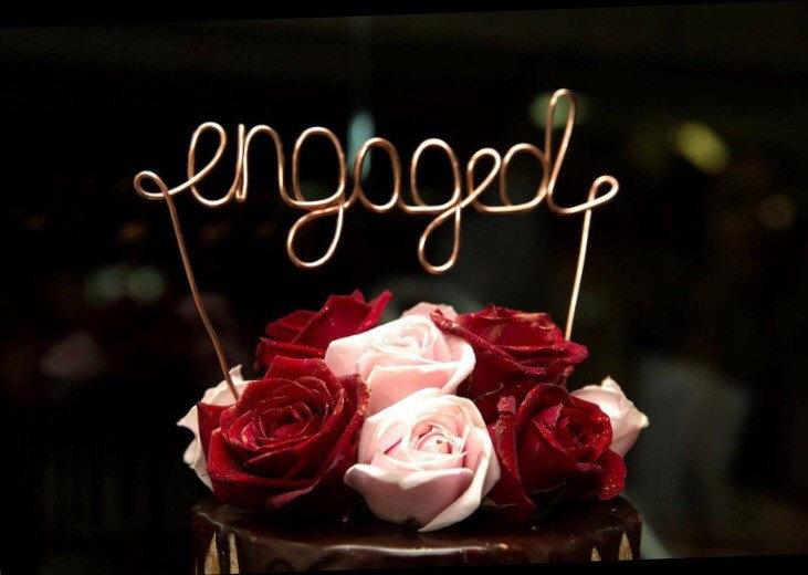 """Свадьба - Engaged, Cake Topper, Custom Made, Wire Cake Toppers - """"engaged"""" EXPRESS POSTAGE"""