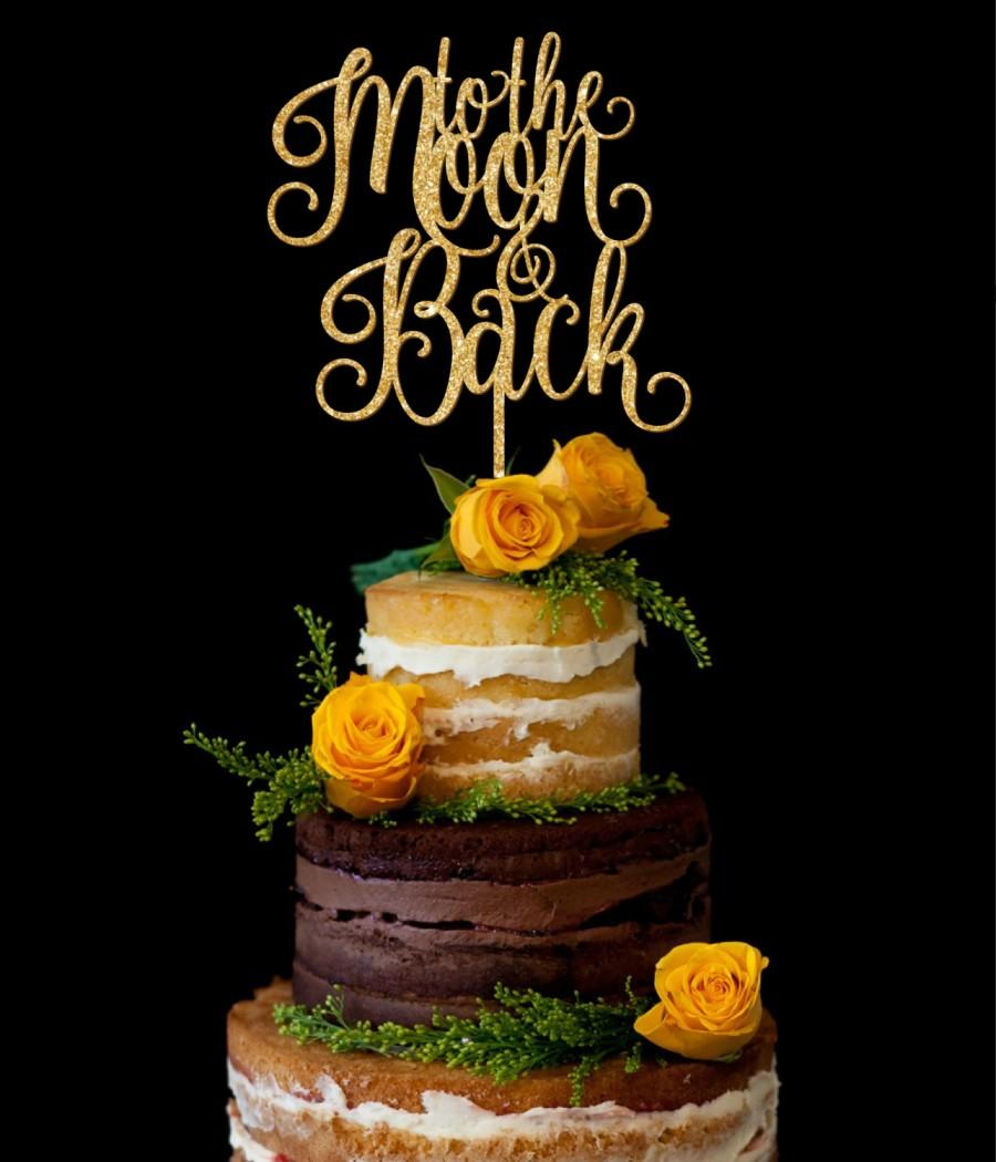 Свадьба - Wedding Cake Topper, Custom Cake Topper, Mr Mrs Cake Topper With Last Name, Unique Cake Topper, Personalized Cake Topper, To the moon back